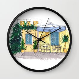 Bar Cafe Caffe in Trastevere in Rome hand-painted watercolor sketch Wall Clock