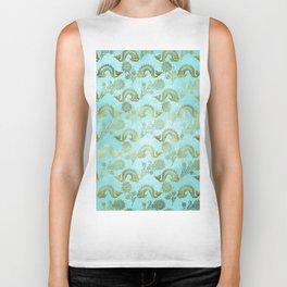 Mermaid Ocean Whale Friends - Teal And Gold Pattern Biker Tank