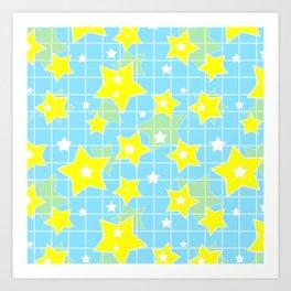 #Yellow #blue #stars Art Print