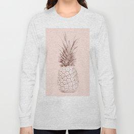 Rose Gold Pineapple on Blush Pink Long Sleeve T-shirt