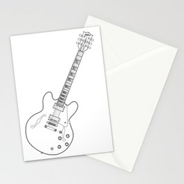 Semi Acoustic Line Drawing Stationery Cards
