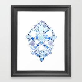 Blue Watercolor Dots Framed Art Print