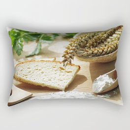 Fresh bread and wheat germ Rectangular Pillow