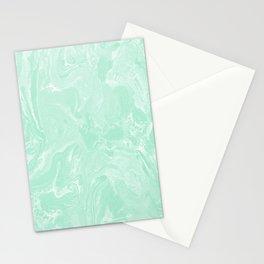 Pastel Mint Green Liquid Swirl Marble Minimalist Spring Summer Stationery Cards