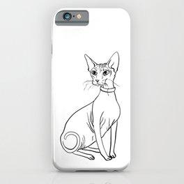 Elegant Sphynx Kitty - Line Art - Minimal Black and White iPhone Case