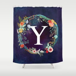 Personalized Monogram Initial Letter Y Floral Wreath Artwork Shower Curtain