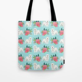 Maltese dog breed floral bouquet minimal pattern dog gifts pet friendly dogs Tote Bag