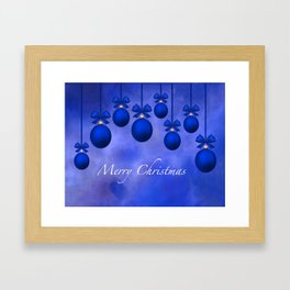 Merry Christmas Ornaments Bows and Ribbons – Blue Framed Art Print
