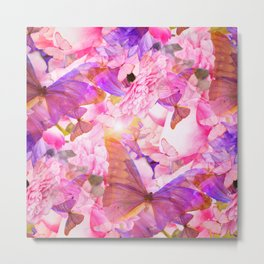 A Summer Dream Where Pink And Violet Butterflies Flying #decor #society6 #pivivikstrm Metal Print
