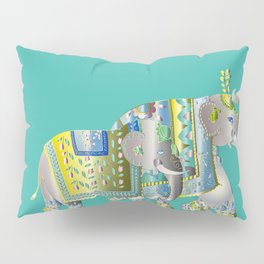 Pair Of Indian Elephants Pillow Sham