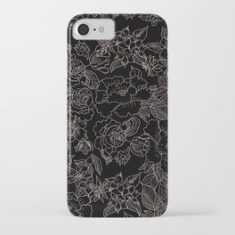 Pink coral tan black floral illustration pattern iPhone Case