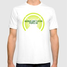 listen White Mens Fitted Tee SMALL
