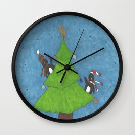 Penguins in a Christmas Tree Wall Clock