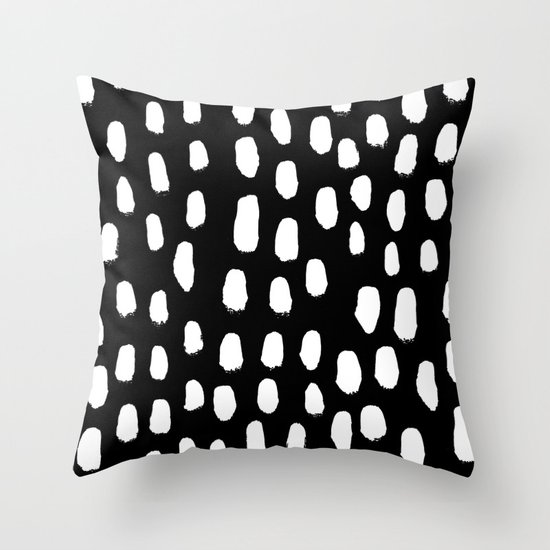 Throw Pillows Plain : Spots black and white minimal dots pattern basic nursery home decor patterns Throw Pillow by ...