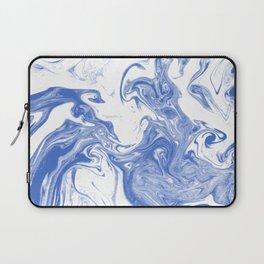 Marble Suminagashi indigo blue 2 watercolor pattern art pisces water wave ocean minimal design Laptop Sleeve