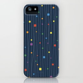 Squares and Vertical Stripes - Rainbow on Blue - Hanging iPhone Case