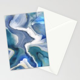 Niagara Mist - abstract fluid marble indigo blue, teal and gold  Stationery Cards