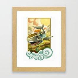 Sky Whale Rider Framed Art Print