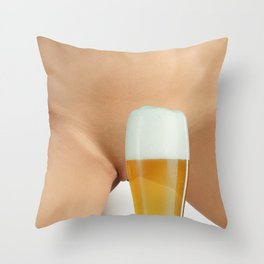 Beer and Naked Woman Throw Pillow