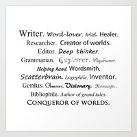 writer Art Prints featuring Writer by Thoughts from behind the Lens