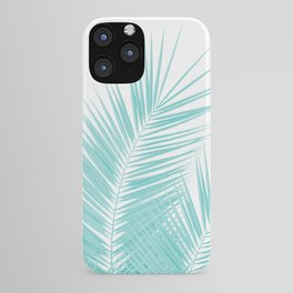 Soft Turquoise Palm Leaves Dream - Cali Summer Vibes #1 #tropical #decor #art #society6 iPhone Case