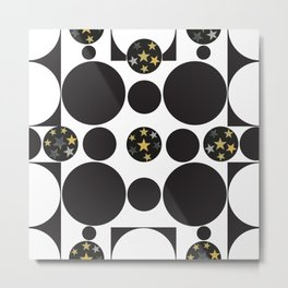 Exaggerated dots and circle with golden shining stars black and white pattern Metal Print