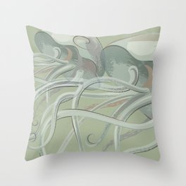 Soothing Green Jellyfish Throw Pillow