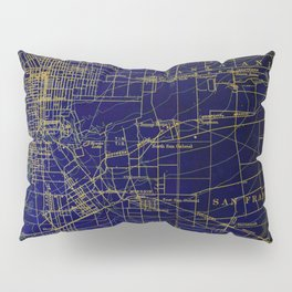 Pasadena antique map year 1896, blue and green artwork Pillow Sham