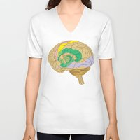 brain V-neck T-shirts featuring Brain by FACTORIE