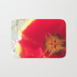Red Flower Close Up Bath Mat