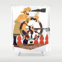 captain silva Shower Curtains featuring Captain by Design4u Studio