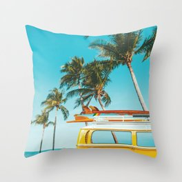 Yellow Van Down by the Sea Throw Pillow