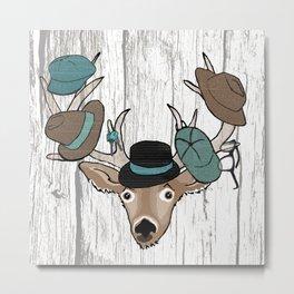 Deer Hat Rack Metal Print