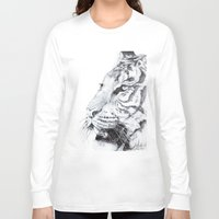 tiger Long Sleeve T-shirts featuring Tiger by Kirsten Neil