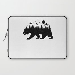 Bear Forest T Shirt Grizzly Silhouette Motif Nature Fusion Laptop Sleeve