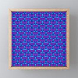 Chaotic pattern of blue diamonds and purple pyramids. Framed Mini Art Print