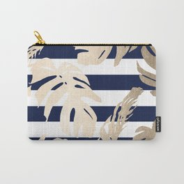 Simply Tropical Palm Leaves on Navy Stripes Carry-All Pouch