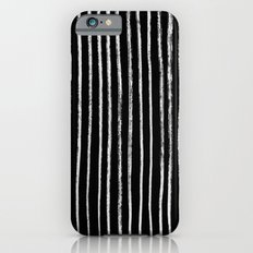 White Line Pattern on Black Slim Case iPhone 6s