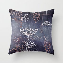 WONDERGARDEN ROSEGOLD BLUE Throw Pillow