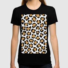 Trendy Leopard Simulated Fur Effect Pattern T-shirt