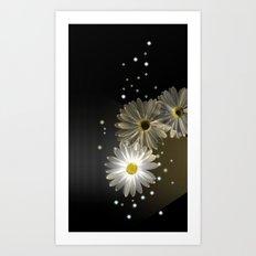 Sparkling modern daisies Art Print