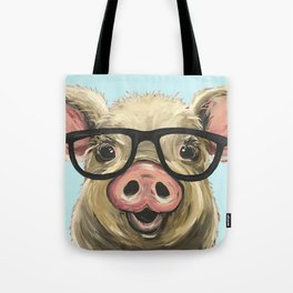 Cute Pig Painting, Farm Animal with Glasses Tote Bag