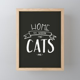 home is where the cats are - black and white Framed Mini Art Print