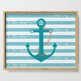 AFE Nautical Teal Ship Anchor Serving Tray