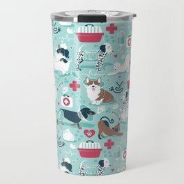 Veterinary medicine, happy and healthy friends // aqua background Travel Mug