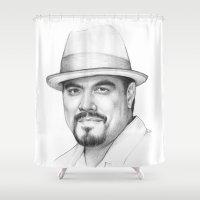 dexter Shower Curtains featuring Angel Batista (DEXTER) by Olechka