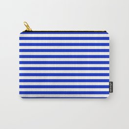 Cobalt Blue and White Thin Horizontal Deck Chair Stripe Carry-All Pouch