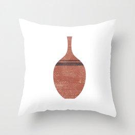 Minimal Abstract Greek Vase 6 - Alabastron - Terracotta Series - Modern, Contemporary Print - Brown Throw Pillow