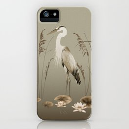 Heron and Lotus Flowers iPhone Case
