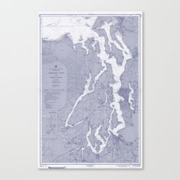 Puget Sound Washington State Nautical Chart Map Print 1956 Blue, Map Art Prints Canvas Print